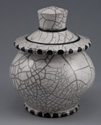 "Covered Jar 6"" x 4"", White Crackle"